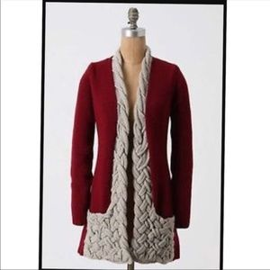 ANTHROPOLOGIE Plaited Pockets Sweater Cardigan